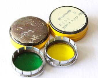 Vintage Yellow and Green Filters in Yellow Tin