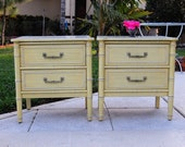 FAUX BAMBOO NIGHTSTANDS / Pair of Faux Bamboo Nightstands / Bali Hai Nightstands Regency Style Nightstands Henry Link at Retro Daisy Girl