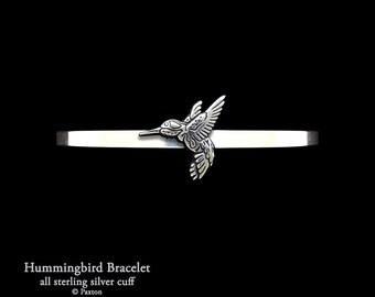 Hummingbird Bracelet Sterling Silver Humming Bird Cuff Bracelet Handmade