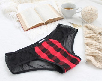 Plaid 'True North' Black and Red Buffalo Check with Sheer Black Mesh Handmade Hipster Panties