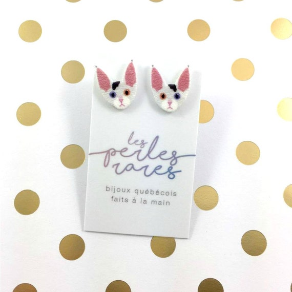 Devon rex, two color eyes, earring, catlover, short haired, white, black, catlover, plastic, stainless stud, handmade, les perles rares