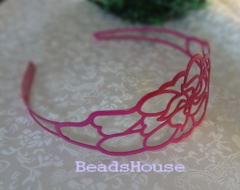 20%off 2pcs  Enameled Coating Laser Cut Flower HeadBand,Nickel Free