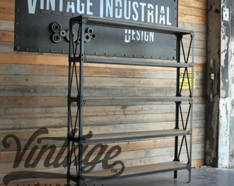 Vintage Industrial Ironworker Shelf / Bookcase / Fixture / French Retail Shelving