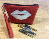 Distributors wristlet bag for LipSense, bag, custom, elegant red suede, shinny silve lips, holds  20-21 lipsticks & additional supplies