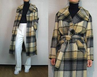 70s Ecru Plaid WOOL WRAP Coat Vintage 1970s Plaid Wool Coat Ecru Tan Gray Black Plaid Wool Wrap Coat Belted Wool Coat Tan Plaid Wool Coat