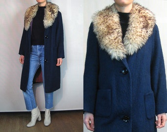 50s Blue Felted Wool + SHEARLING Coat