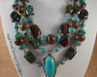 Western Cowgirl Necklace Set - Chunky Turquoise and Brown Howlite - Jasper