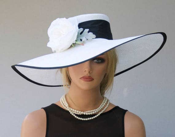 Wedding Hat, Kentucky Derby Hat, Ascot Hat, Black and White Hat, Occasion Hat, Wide Brim Hat, Big hat