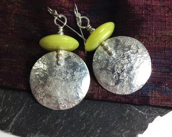 Large round silver and chartreuse jasper tribal dangly earrings