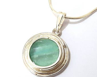 925 Sterling Silver  Roman Glass Pendant Necklace