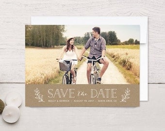 Save the Date Photo Cards Kraft Floral