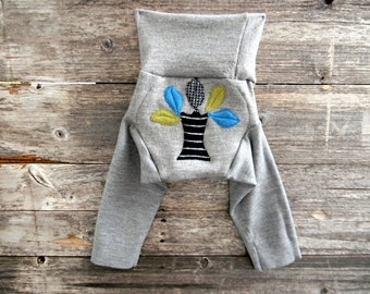 MEDIUM Upcycled Merino Wool Longies Soaker Cover Diaper Cover With Added Doubler Gray With Tree Applique 6-12M