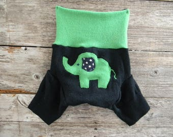 Upcycled  Merino Wool Soaker Cover Diaper Cover With Added Doubler Black/ Green With Elephant  Applique MEDIUM 6-12M