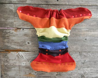 Upcycled  Wool Nappy Cover Diaper Wrap Cloth Diaper Cover One Size Fits Most Rainbow Colors/ Deep Purple