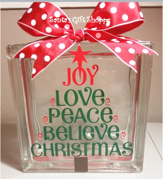 Christmas vinyl lettering glass block crafts for Glass blocks for crafts lowes