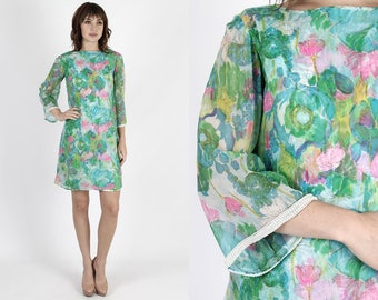Mod Dress 60s Dress Wiggle Dress Chiffon Dress Mod Mini Dress Scooter Dress Vintage Floral Dress Bell Sleeve Pearl Beaded Evening Party Mini