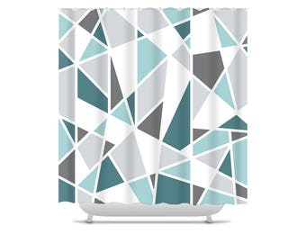 Geometric Shower Curtain, teal and gray bathroom decor, bath curtain, modern