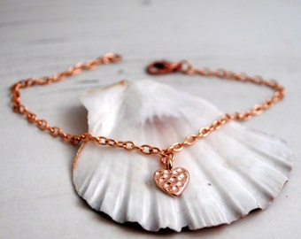 SALE Rose Gold Heart Bracelet, Tiny Heart Charm Bracelet, Rose Gold Love Bracelet, Bridesmaid
