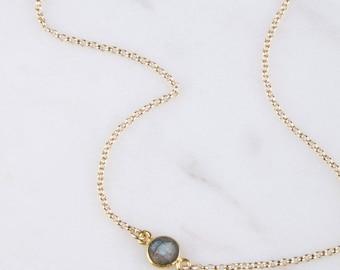 Gemstone Layered Gold Necklace, Gemstone Bezel Connector Necklace, Bridesmaid Gemstone Necklace, Dainty Bracelet Gold, Labradorite Necklace