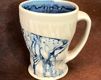Handmade Fish Mug, Coffee/Tea Cup, Wood Fired Brown Trout Mug, Fishing Gifts for the Fisherman, Fly Fishing Gifts, One of a kind.