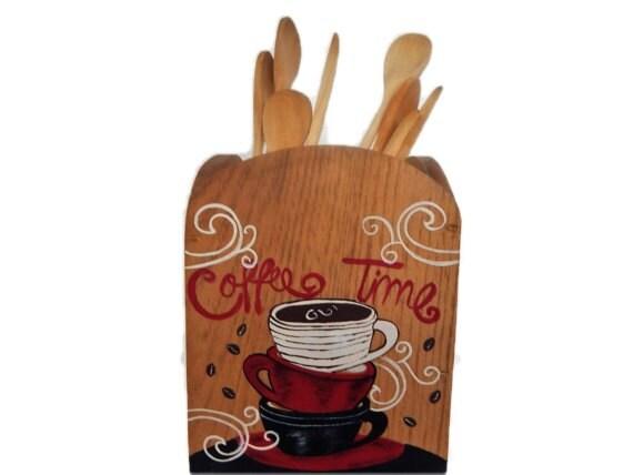 Utensil holder kitchen utensil holder coffee decor coffee - Unique kitchen utensil holder ...