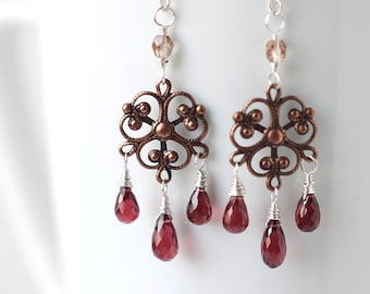 Garnet Earrings, Red Gemstone Chandelier Mix Metal Earrings, January Birthstone