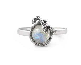 Spiral Snake Ring with Moonstone Egg in Sterling Silver