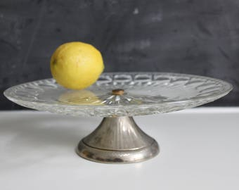 Vintage Glass Cake Stand | Silver Cake Stand | Vintage Cake Stand | Glass and Silver Cake Stand | Glass Cake Stand with Silver Base