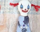 OOAK Original Primitive Creepy Cute Clown Folk Art Doll Whimsical Fun Halloween Pennywise