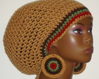 Earth Tone Crochet Large Tam Cap Hat with Drawstring and Earrings Dreadlocks by Razonda Lee Razondalee
