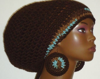 Brown Crochet Large Rasta Tam Hat Cap with Drawstring and Earrings Dreadlocks by Razonda Lee Razonda Made to Order
