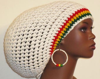 Rasta Trim Large Crochet Tam with Drawstring and Earrings by Razonda Lee Razondalee Made to Order