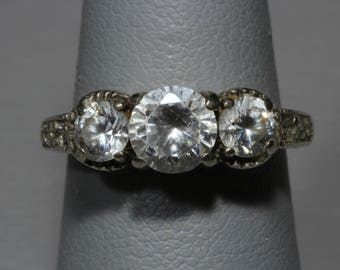 Vintage Sterling Silver White Topaz Engagement Wedding Ring Size 5 3/4
