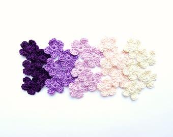 Tiny flower applique - crochet flower decorations - purple flowers applique - cotton flowers - lilac flower applique - set of 25  ~1 inch