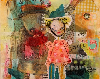Modern Abstract Painting. raw art portrait, weird childlike outsider art. surreal painting, creepy cute wall art, graffiti art, bright color