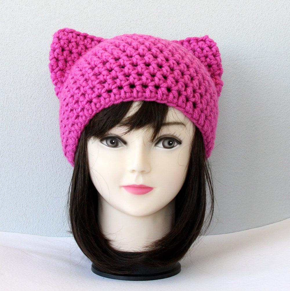 Pink cat ear hat cat ear beanie crochet cat womens cat hat