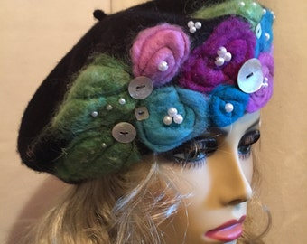 Needle Felted Black Beret....A Colorful Assortment of Needle Felted Flowers on a Wool Beret and Embellished with Pearls and Buttons