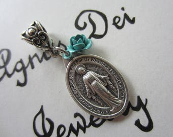 Miraculous Medal & Turquoise Rose Charm Pendant Necklace Virgin Mary Medal Blessed Mother Medal Catholic Jewelry Religious SPECIAL JUNE SALE
