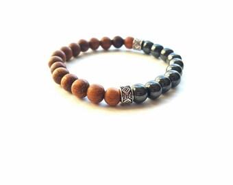 Men's wood,silver and hematite  stackable stretch bracelet//chakra bracelet//gift for him//yoga bracelets The Sampha