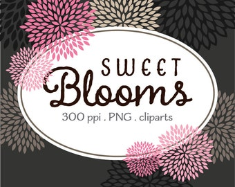 Sweet Pink Blooms - Digital Clip Art - Pink Charcoal Gray Black Flowers - Instant Download
