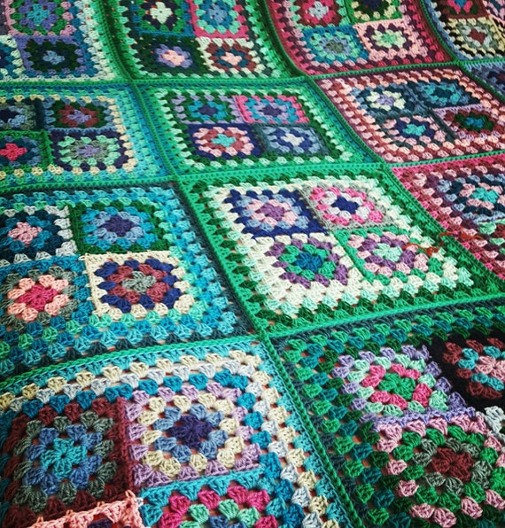 "READY to SHIP Retro Granny Squares Blues BLANKET Afghan 70"" x 70"" Sofa Throw"
