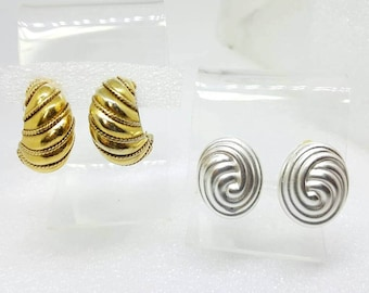 Alfred Sung  Hoops of Gold Weave and Silver  Swirl Clip earrings lot of 2 pair