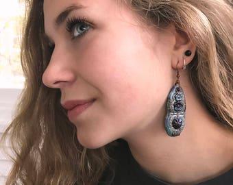 Clay EARRINGS, beaded dangle earrings, boho earrings, tribal earrings, zen earrings, clay earrings, blue earrings,  hippy earringsZASRA