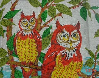 Vintage Linen Owl Dish Cloth Never Used  17 - 706