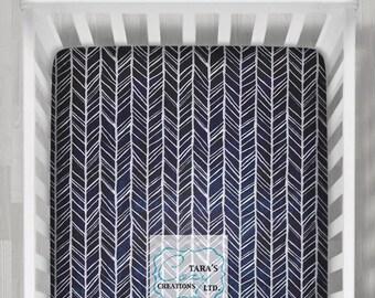 Navy Herringhbone Minky Crib Sheet  / Crib Sheet / Twin Sheet- Minky Crib Sheet - Playpen Sheet-  Navy Gray Minky Sheet- ships today