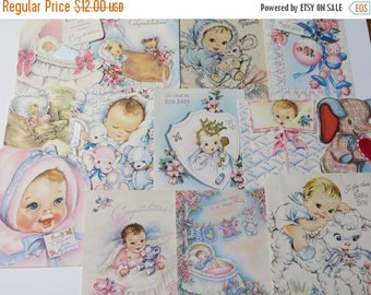 Store Closing SALE Vintage Greeting Cards Lot-Ephemera-Mixed Media-Paper-Crafts-Scrap Booking-Baby-Childrens-Set of 13