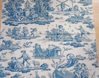 "Antique French Toile Blue & White Romantic Scenes Courtship Cupids Country Lambs 27 X 31"" #2"
