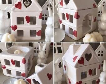 Decorative Decoupage Porcelain Wax Melt Tealight House Burner using Emma Bridgewater Heart designs