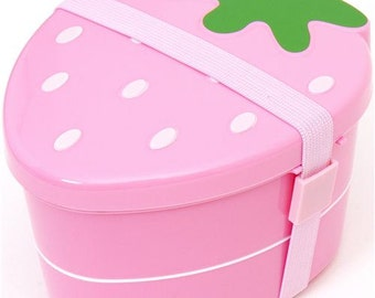 super kawaii bento box lunch, storage,Japanese lunch box, so very cute strawberry pink 2 tier with belt!