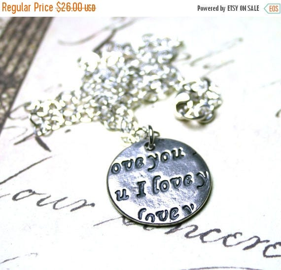 "ON SALE The ""I Love You"" Pendant - Stamped with Love - Sterling Silver Charm Necklace - Two Sided Charm"